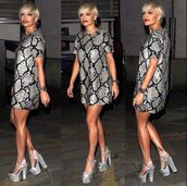 dress,rita ora,grey dress,short hair