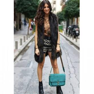 shorts sequin shorts sequins pattern faux fur vest vest black vest bag teal blue bag top metallic metallic blouse gold boots ankle boots black boots