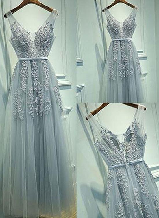 Grey Long Prom Dresses, Party Dresses, Evening Dresses 2018