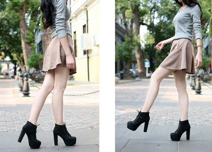2012 western star style lace up thick heel ankle boot water table high heel-in Boots from Shoes on Aliexpress.com