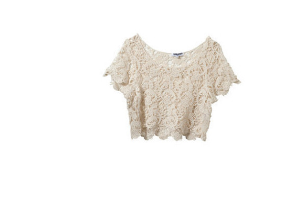 t-shirt crop tops crop top crochet crochet crop top ebay white beige t-shirt lace clothes summer outfits summer outfits