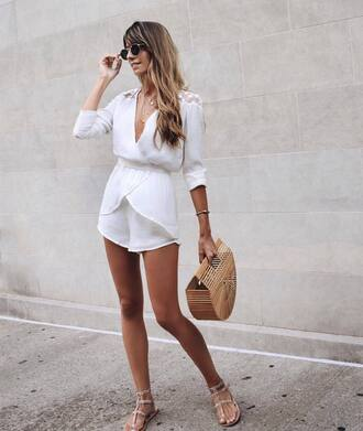 romper tumblr white romper bag basket bag sandals flat sandals sunglasses shoes