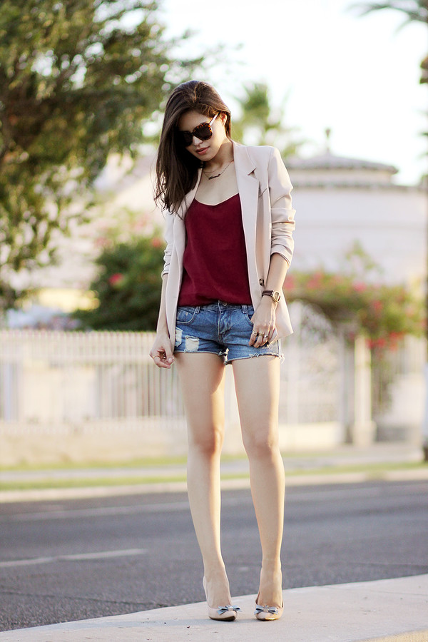 fake leather jacket dress top shorts shoes jewels sunglasses