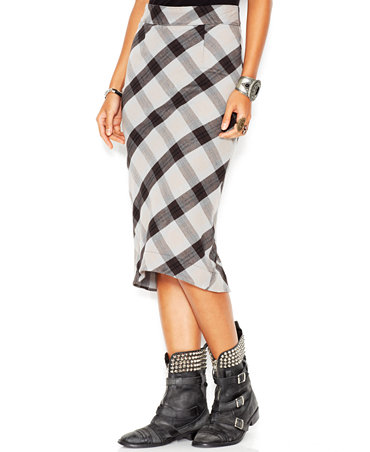 Free people stretch textured plaid geometric precision high