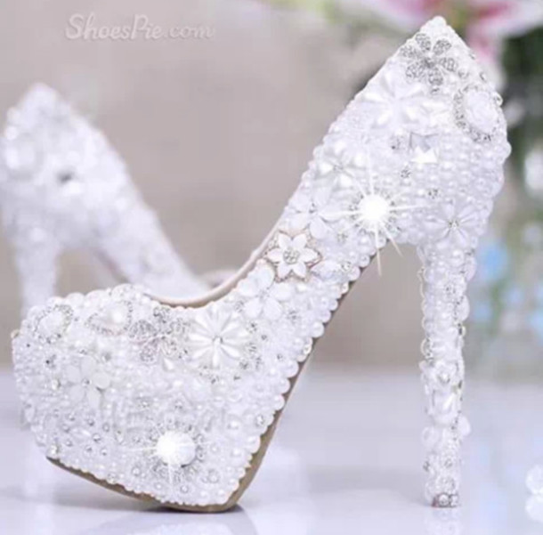Shoes: wedding shoes, white shoes, high heels - Wheretoget