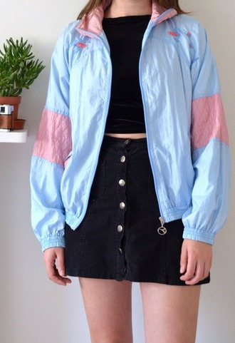 jacket blue pink bomber jacket vintage windbreaker pastel