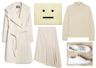 jane's sneak peak blogger bag smiley pouch off-white skirt coat