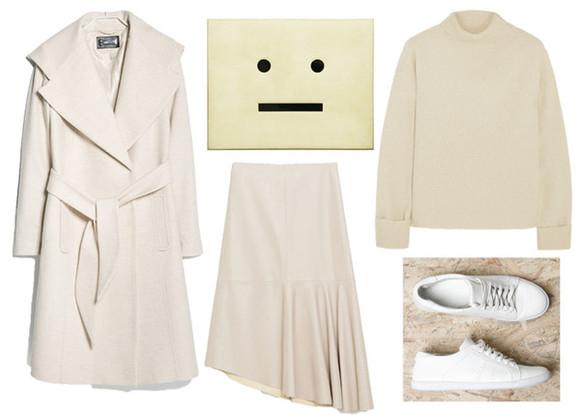 smiley bag jane's sneak peak blogger pouch off-white skirt coat