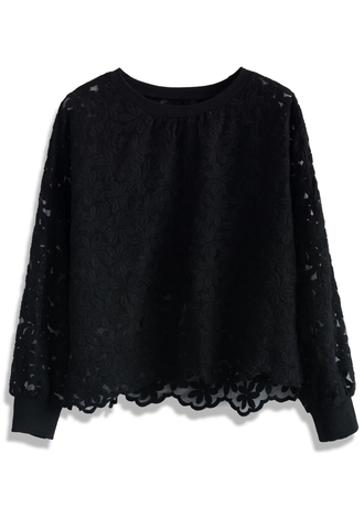 top floral land embroidered mesh top in black chicwish black