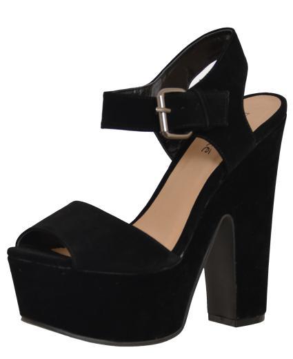 Heel Platform Sandal Black Sde: Black Sde - £14.99 - Block Heel ...