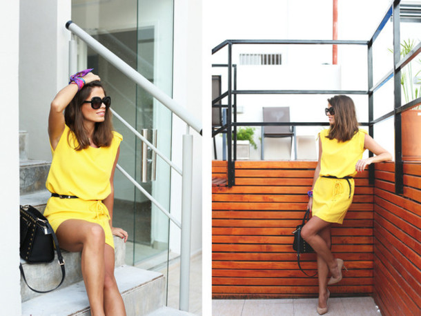 seams for a desire blogger sunglasses belted dress yellow dress