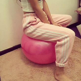 pants gym pink cute long pants girl stripes sweatpants pastel pink