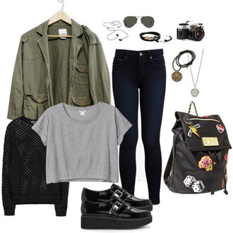 jacket clothes grunge hipster indie soft grunge vintage jeans shirt shoes sweater bag
