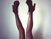 tights,heart,black,boots,heels,shoes,black boots,platform lace up boots,high heels,black heels,hearts tights,girly,cute,high,booties