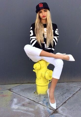 sweater jersey cropped pants white shoes dope wishlist snapback