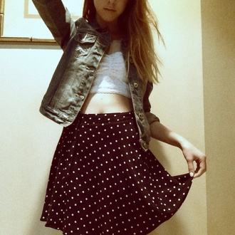 skirt floral cute hipster hairstyles jacket lace girl ombre denim bustier pattern sky polka dots denim jacket
