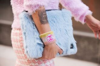 jewels chanel bag furry pouch faux fur pastel bag pastel pastel blue tattoo lion furry bag blue fur clutch