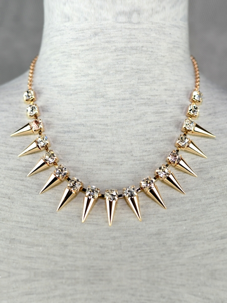 The Golden Spike Diamond Necklace | Choies
