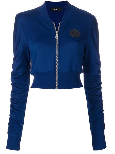 Versus cardigan cardigan cropped zip women spandex blue sweater