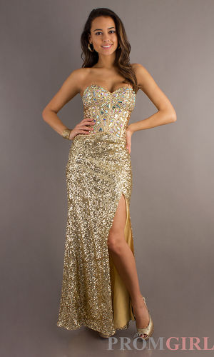 Sean Couture Strapless Gold Sequin Gown - $426 : Here is your dress style., We can provide all kinds of wedding dress,high quality dress and high quality service!