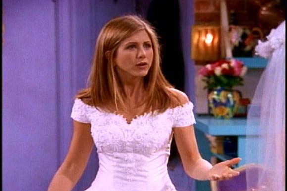 jennifer aniston friends rachel dress wedding dress white dress