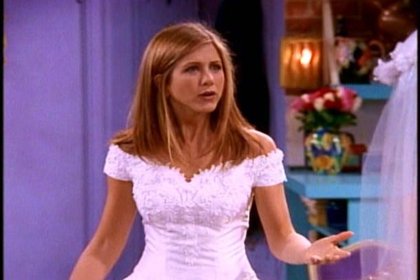dress rachel wedding dress jennifer aniston friends white dress