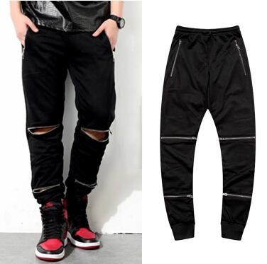 Top , rock punk style men's zipper black pants 2014 hiphop fashion pocket and knees zipper casual harem pants sweatpants