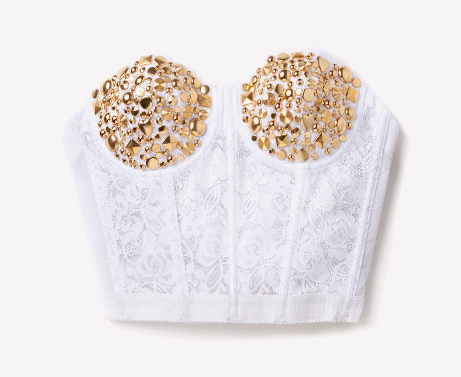 Gold Studded Lace Bustier - White | RUNWAYDREAMZ