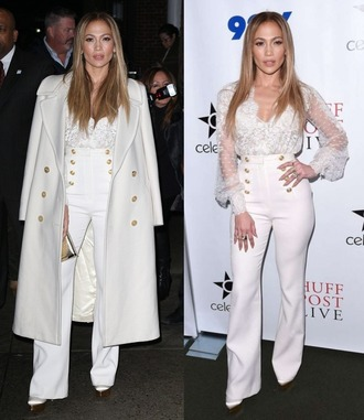 pants white blouse lace jennifer lopez coat shoes jeans