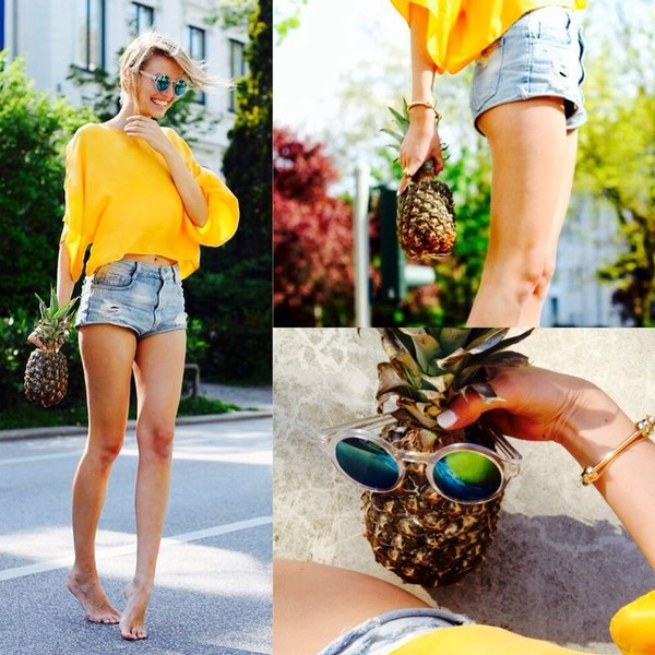 ohh couture blouse shorts sunglasses