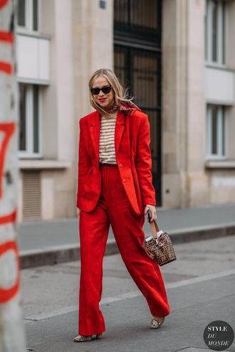 pants red pants blazer red blazer top sunglasses striped top bag wide-leg pants stripes