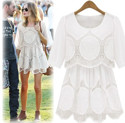New 2013 lady's dress summer vintage cutout aesthetic embroidery flower one piece dress free shipping LSH6872-inDresses from Apparel & Accessories on Aliexpress.com