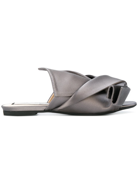 No21 women sandals leather silk grey shoes