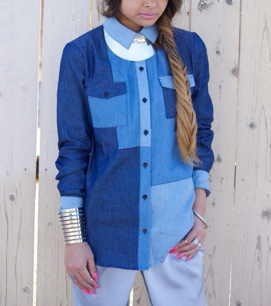 blouse denim dimepiece button down shirt