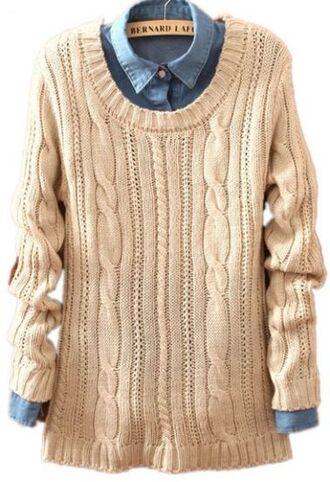 sweater denim denim shirt knitted sweater