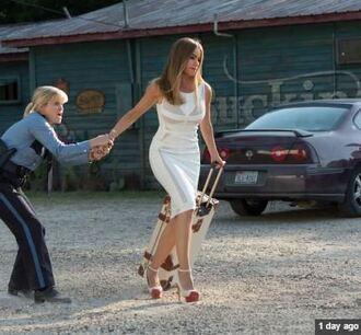 dress sofia vergara white dress bodycon dress shoes