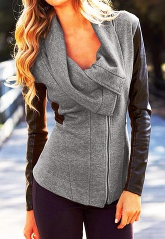coat grey black leather warm winter outfits fall outfits blouse
