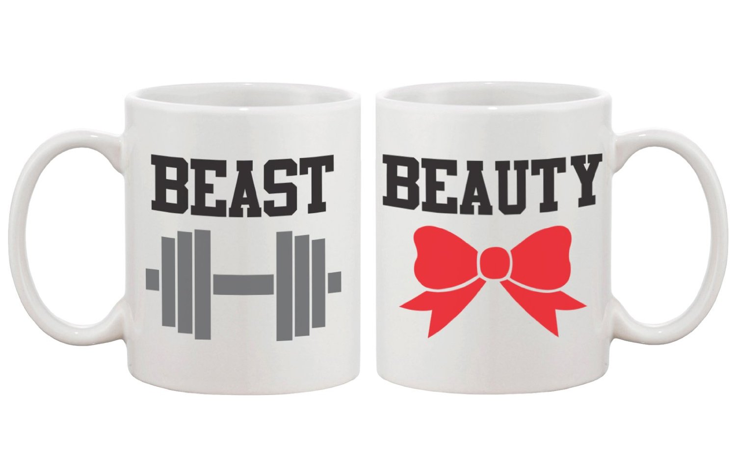 amazoncom beauty and beast matching coffee mugs perfect wedding engagement anniversary and valentines day gift for