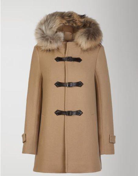 duffle coat fur collar faux fur classy simple classic