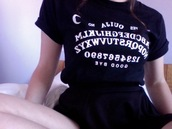 shirt,ooji board,black,skreened,t-shirt,ouija,ouija board shirt,ouija board,black and white,dark,quote on it,grunge,goth,blouse,swimwear