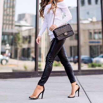 pants tumblr leather pants black leather pants black pants top white top long sleeves sandals sandal heels high heel sandals black sandals bag black bag chanel chanel bag blouse