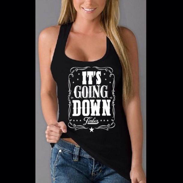 shirt timber black white tank top kesha it's going down