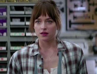 shirt dakota johnson pink lipstick brunette fifty shades of grey