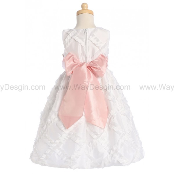 Blossom White Taffeta Ribbon Dress Detachable Sash & Flower