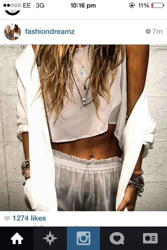pants shorts crop tops jacket tank top clothes jewels sexy jewelry nightwear layered necklace mini shorts white shorts blouse white casual large satin silk whit blazer cardigan shiffronshorts see through seethroughshorts beige top see through top