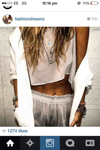 pants pants shorts crop tops jacket tank top clothes jewels sexy jewelry nightwear jewelry layered necklace mini shorts white shorts blouse white casual large satin silk crop tops whit blazer cardigan shiffronshorts see through seethroughshorts beige top see through top