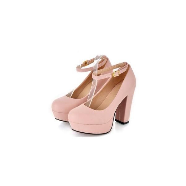 Ladies Elegant Ankle Strap Chunky Block High Heel Platform P... - Polyvore