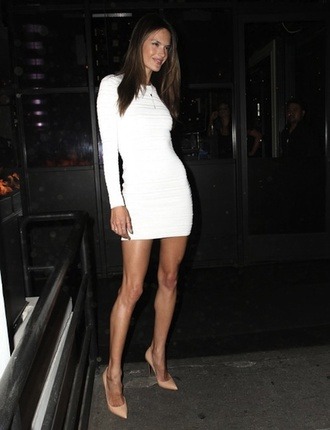 dress long sleeves white dress bodycon mini dress alessandra ambrosio