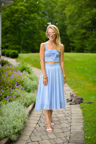 katie's bliss - a personal style blog based in nyc blogger top skirt shoes jewels crop tops plaid blue top blue skirt maxi skirt flats aviator sunglasses date outfit two piece dress set summer outfits matching set mirrored sunglasses white sandals sandals flat sandals checkered