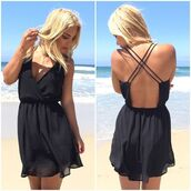 romper,black,open back,criss cross back,v neck